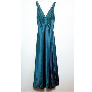 Vintage VS Satin Lace Teal Long Slip Dress